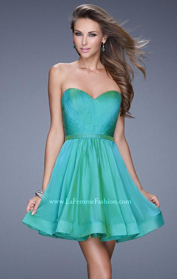 Picture of: Strapless Chiffon Short Dress with Gathered Waist in Green, Style: 20721, Detail Picture 5
