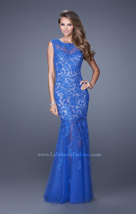 Picture of: Mermaid Gown with Sheer Neckline and Tulle Skirt in Blue, Style: 20722, Main Picture