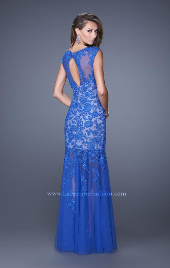 Picture of: Mermaid Gown with Sheer Neckline and Tulle Skirt in Blue, Style: 20722, Back Picture