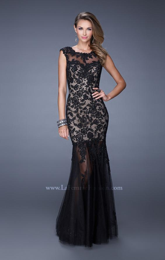 Picture of: Mermaid Gown with Sheer Neckline and Tulle Skirt in Black, Style: 20722, Detail Picture 1