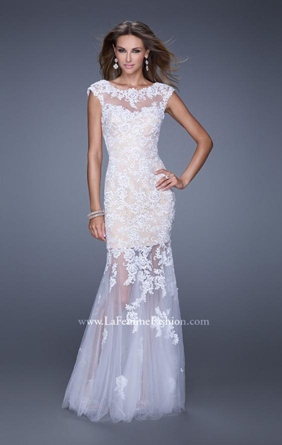 Picture of: Mermaid Gown with Sheer Neckline and Tulle Skirt in White, Style: 20722, Detail Picture 2