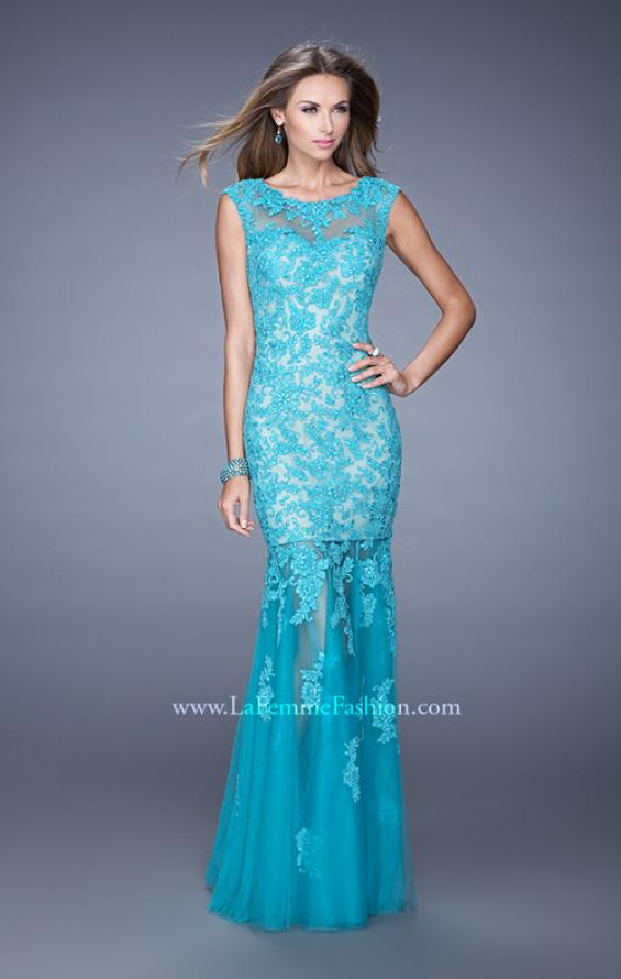 Picture of: Mermaid Gown with Sheer Neckline and Tulle Skirt in Aqua, Style: 20722, Detail Picture 3