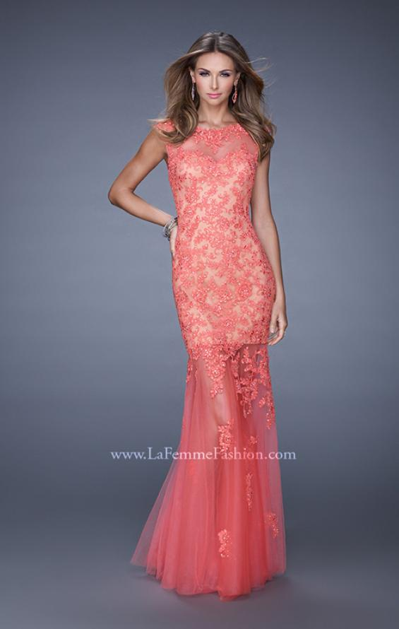 Picture of: Mermaid Gown with Sheer Neckline and Tulle Skirt in Coral, Style: 20722, Detail Picture 4