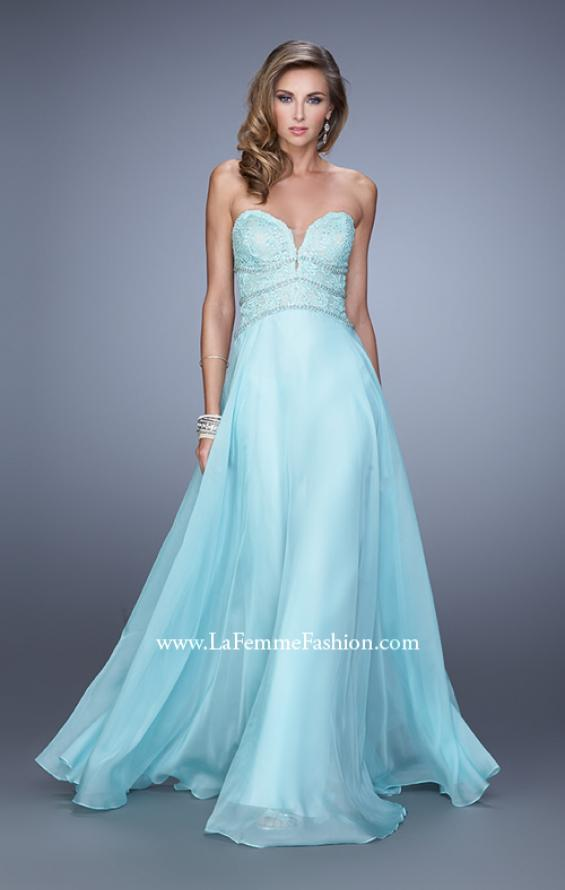 Picture of: Embellished Strapless Gown with Sweetheart Neck in Aqua, Style: 20743, Detail Picture 1