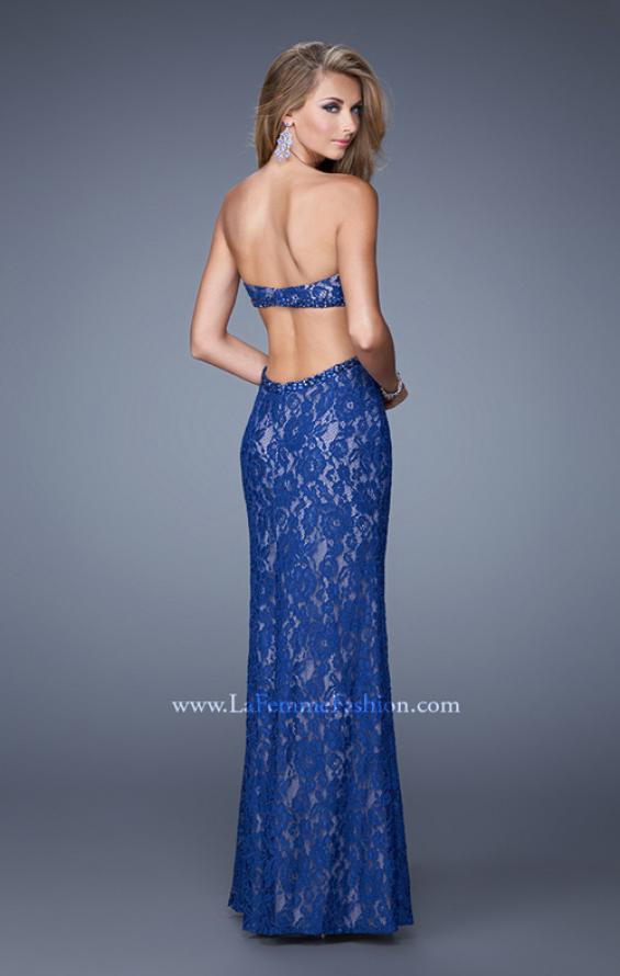 Picture of: Long Lace Strapless Prom Dress with Embellishments in Blue, Style: 20750, Back Picture