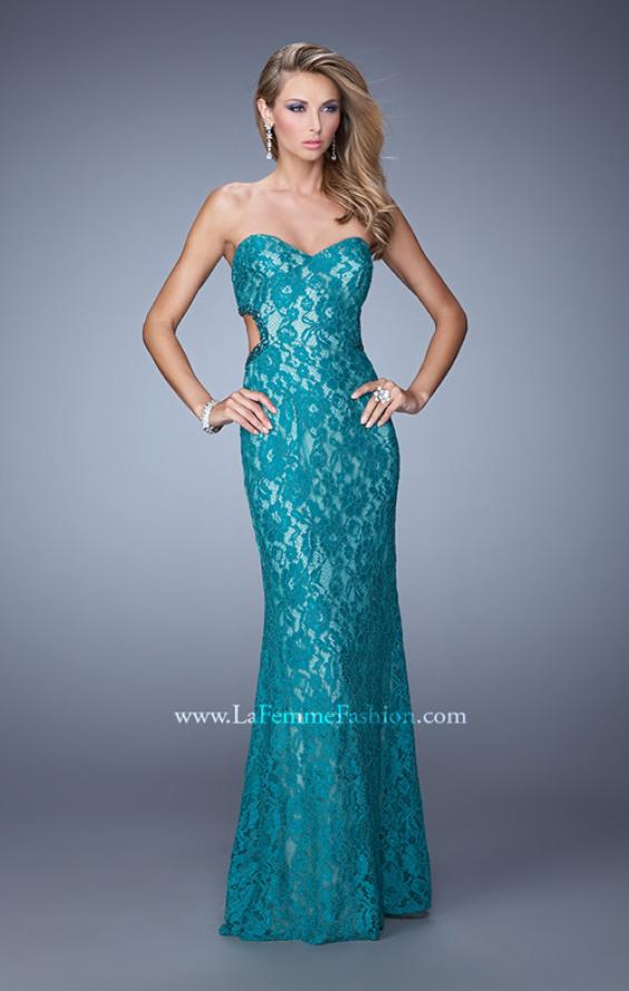 Picture of: Long Lace Strapless Prom Dress with Embellishments in Teal, Style: 20750, Detail Picture 1