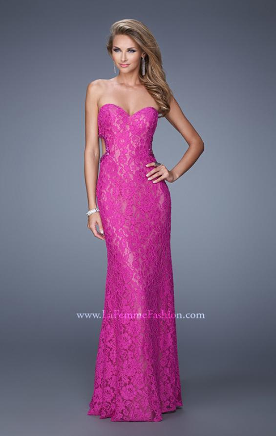Picture of: Long Lace Strapless Prom Dress with Embellishments in Pink, Style: 20750, Detail Picture 2