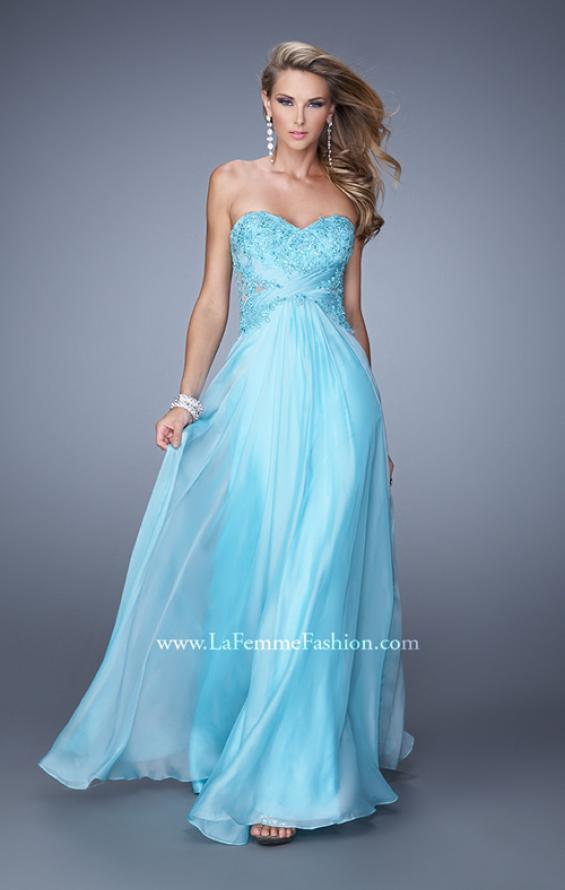 Picture of: Chiffon Strapless Dress with Gathering and Beaded Lace in Blue, Style: 20762, Main Picture