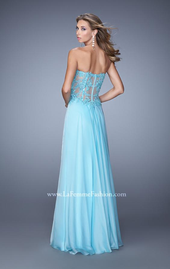 Picture of: Chiffon Strapless Dress with Gathering and Beaded Lace in Blue, Style: 20762, Back Picture