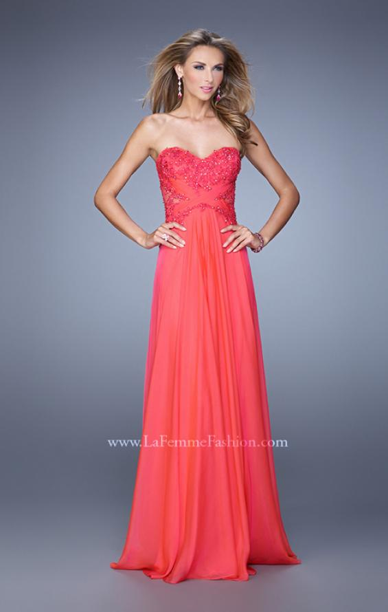 Picture of: Chiffon Strapless Dress with Gathering and Beaded Lace in Red, Style: 20762, Detail Picture 1