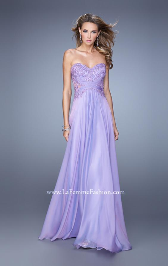 Picture of: Chiffon Strapless Dress with Gathering and Beaded Lace in Purple, Style: 20762, Detail Picture 2