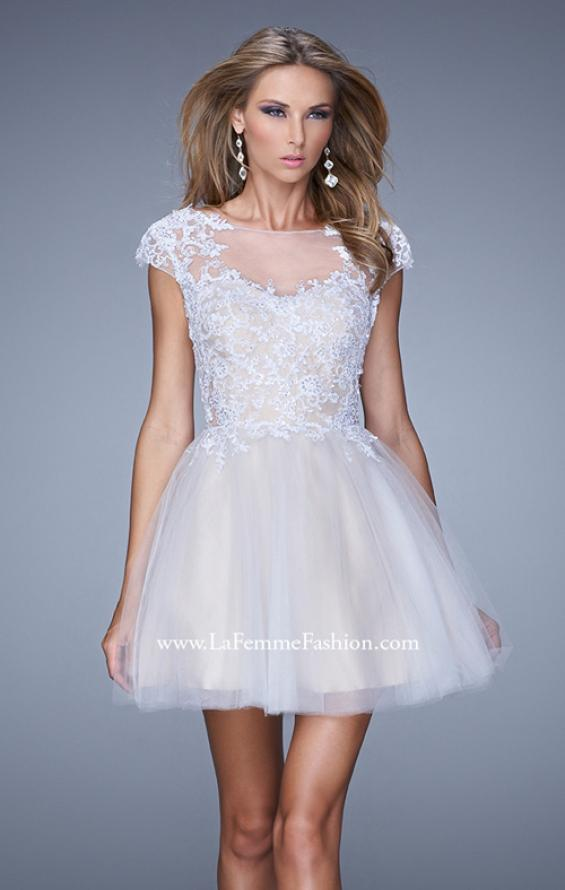 Picture of: Short Tulle Cocktail Dress with High Neck and Cap Sleeves in White, Style: 20781, Main Picture