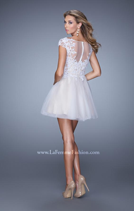 Picture of: Short Tulle Cocktail Dress with High Neck and Cap Sleeves in White, Style: 20781, Back Picture