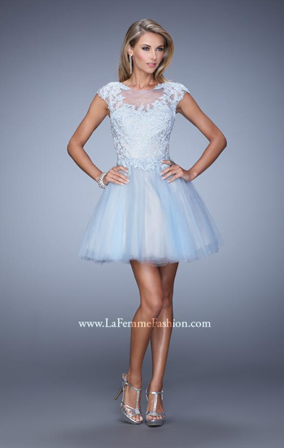 Picture of: Short Tulle Cocktail Dress with High Neck and Cap Sleeves in Blue, Style: 20781, Detail Picture 1