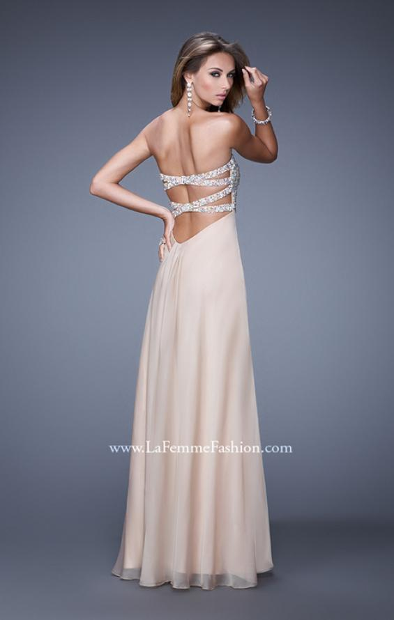 Picture of: Strapless Chiffon Dress with Embellished Back Straps in Nude, Style: 20784, Back Picture