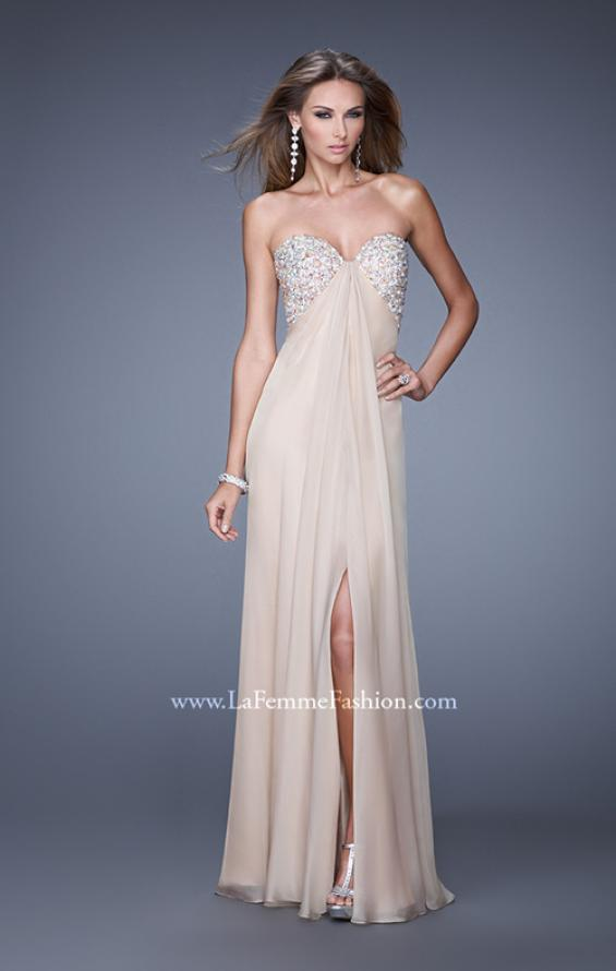 Picture of: Strapless Chiffon Dress with Embellished Back Straps in Nude, Style: 20784, Detail Picture 1