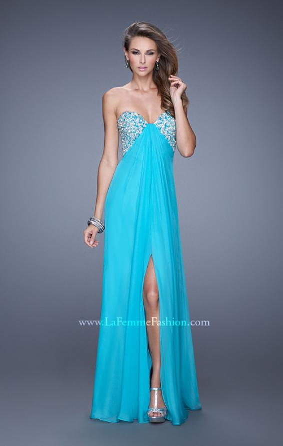Picture of: Strapless Chiffon Dress with Embellished Back Straps in Aqua, Style: 20784, Detail Picture 2