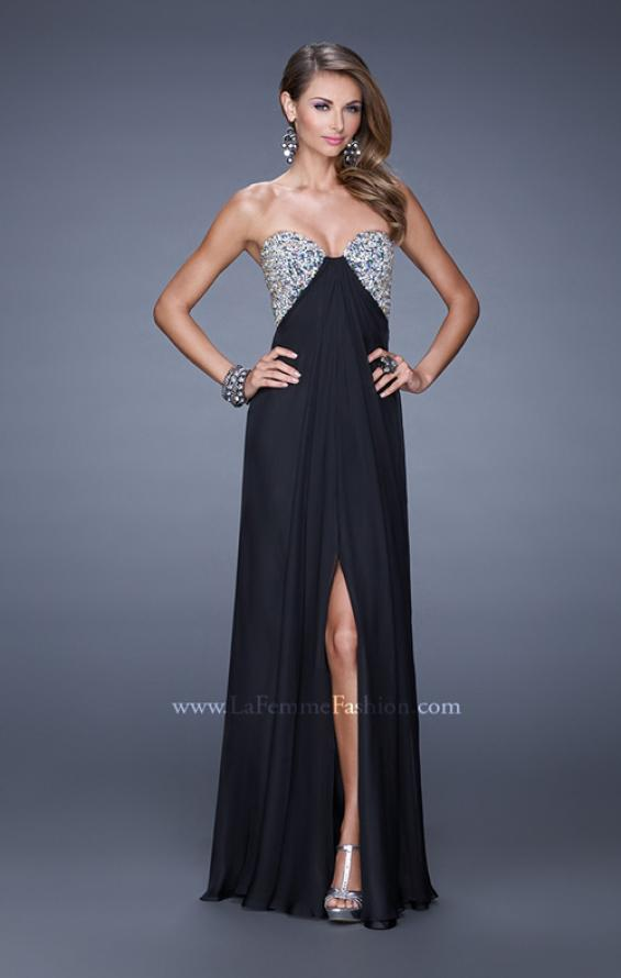 Picture of: Strapless Chiffon Dress with Embellished Back Straps in Black, Style: 20784, Detail Picture 3