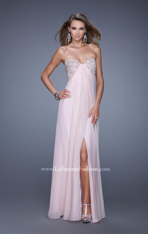 Picture of: Strapless Chiffon Dress with Embellished Back Straps in Pink, Style: 20784, Detail Picture 4
