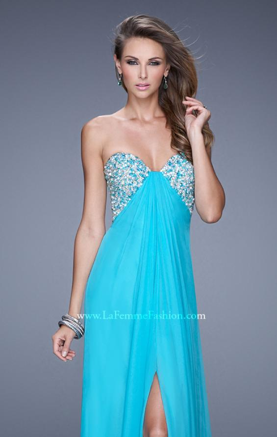Picture of: Strapless Chiffon Dress with Embellished Back Straps in Aqua, Style: 20784, Detail Picture 5