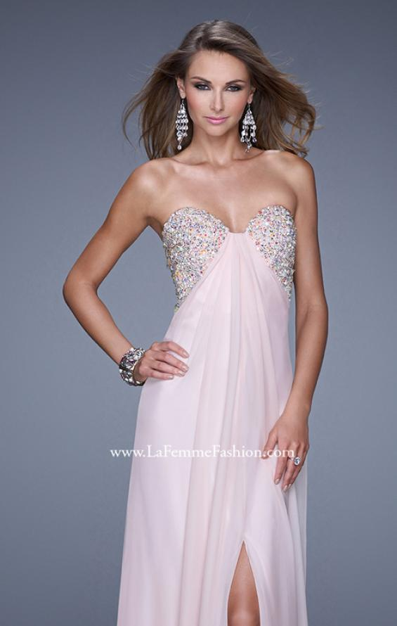 Picture of: Strapless Chiffon Dress with Embellished Back Straps in Pink, Style: 20784, Detail Picture 7