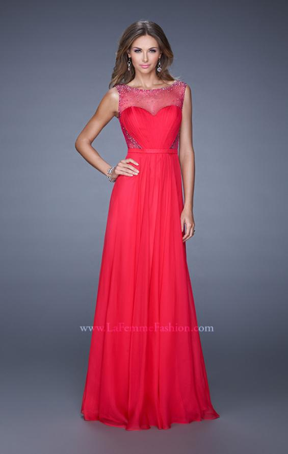 Picture of: Long Prom Dress with Sheer Net Detail and Embellishments in Red, Style: 20807, Main Picture