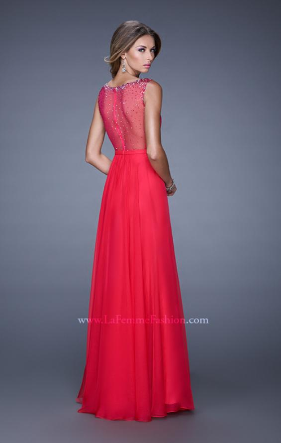 Picture of: Long Prom Dress with Sheer Net Detail and Embellishments in Red, Style: 20807, Back Picture