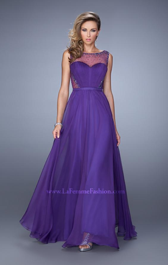 Picture of: Long Prom Dress with Sheer Net Detail and Embellishments in Purple, Style: 20807, Detail Picture 1