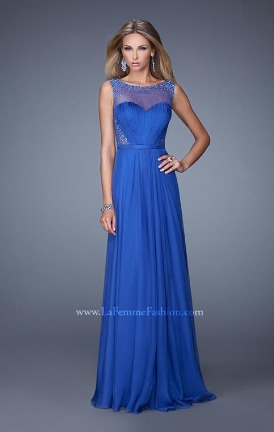 Picture of: Long Prom Dress with Sheer Net Detail and Embellishments in Blue, Style: 20807, Detail Picture 2