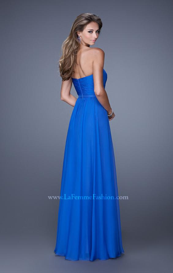 Picture of: Long Strapless Gown with Pleated Bodice and Belt, Style: 20808, Back Picture