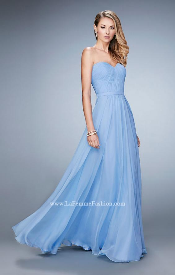 Picture of: Long Strapless Gown with Pleated Bodice and Belt, Style: 20808, Detail Picture 1