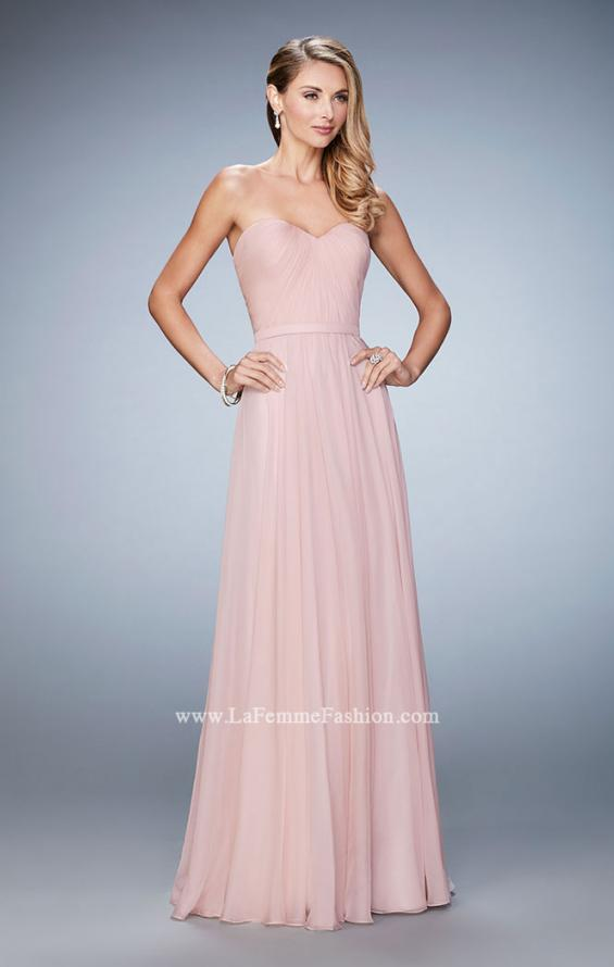Picture of: Long Strapless Gown with Pleated Bodice and Belt, Style: 20808, Detail Picture 2