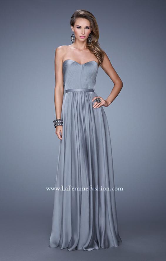 Picture of: Long Strapless Gown with Pleated Bodice and Belt, Style: 20808, Detail Picture 3