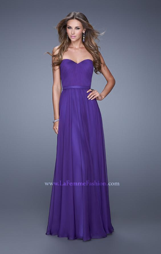 Picture of: Long Strapless Gown with Pleated Bodice and Belt, Style: 20808, Detail Picture 4