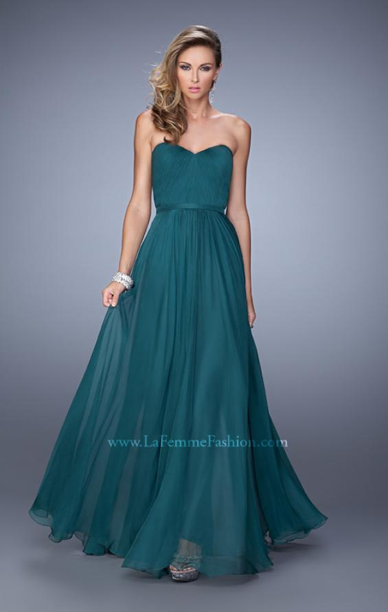Picture of: Long Strapless Gown with Pleated Bodice and Belt, Style: 20808, Detail Picture 5