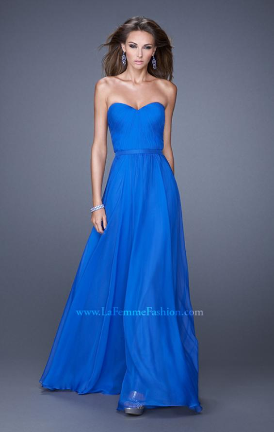 Picture of: Long Strapless Gown with Pleated Bodice and Belt, Style: 20808, Detail Picture 6
