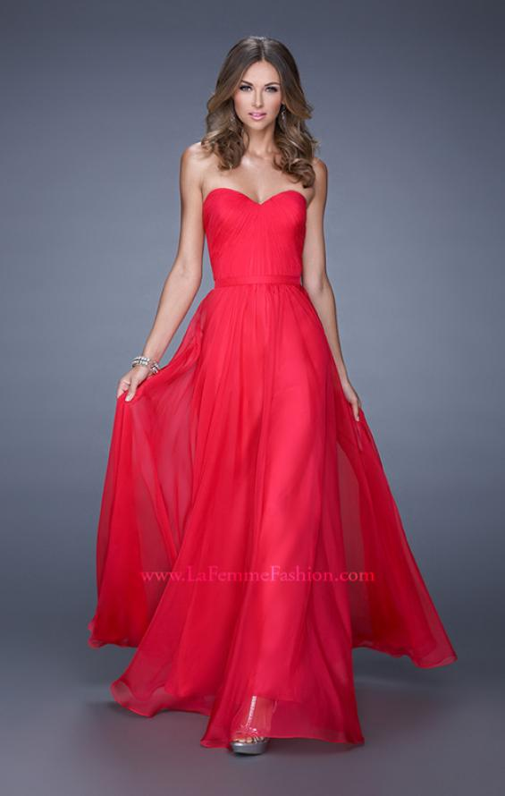 Picture of: Long Strapless Gown with Pleated Bodice and Belt, Style: 20808, Detail Picture 7