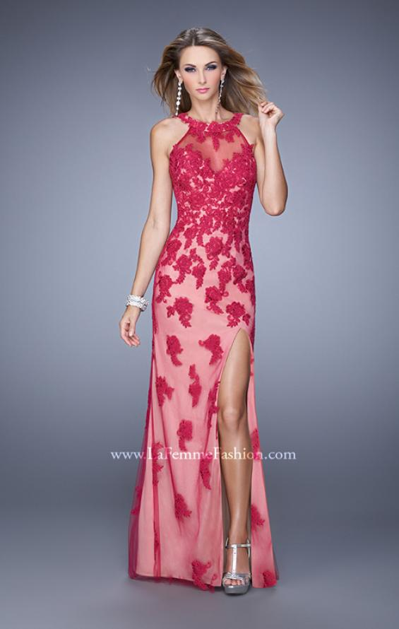 Picture of: Long Jersey Prom Gown with Colored Net Overlay and Lace in Red, Style: 20811, Detail Picture 1