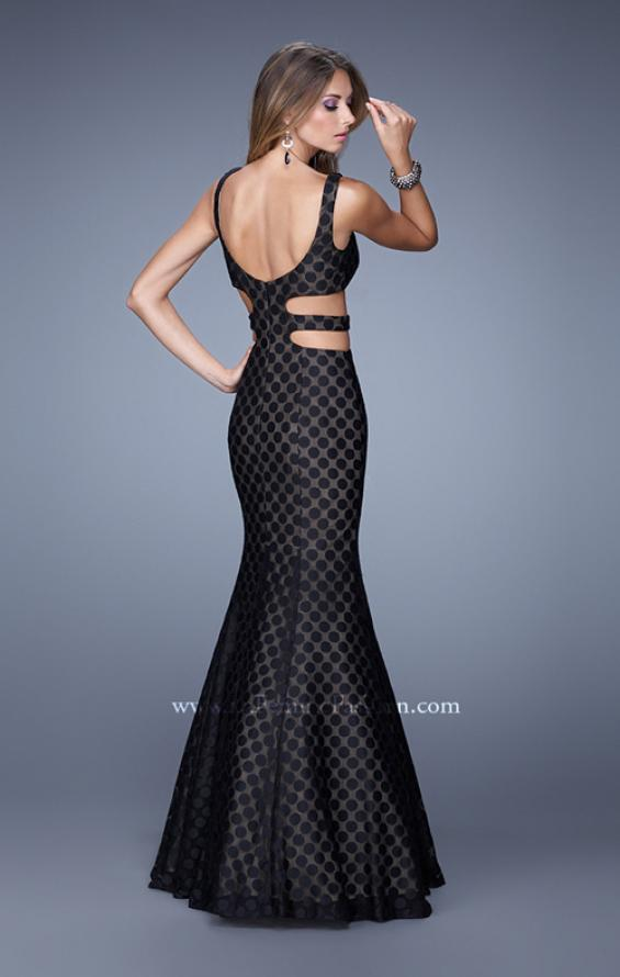 Picture of: Long Mermaid Gown with Polka Dot Lace Overlay, Style: 20813, Back Picture