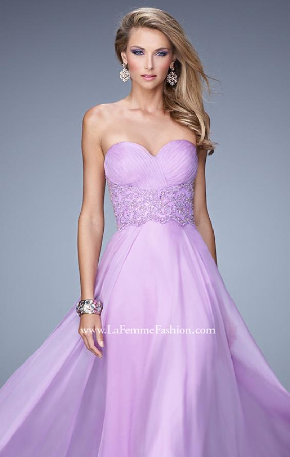Picture of: Strapless Chiffon Dress with Sweetheart Neck and Ruching, Style: 20815, Main Picture
