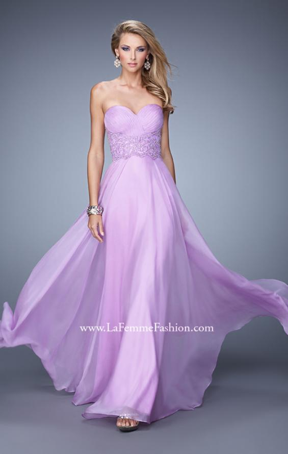 Picture of: Strapless Chiffon Dress with Sweetheart Neck and Ruching, Style: 20815, Detail Picture 1