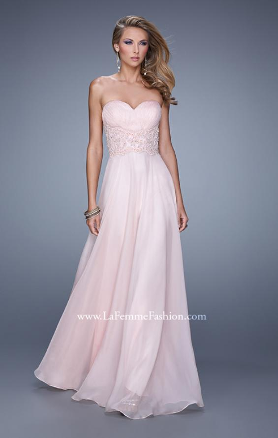 Picture of: Strapless Chiffon Dress with Sweetheart Neck and Ruching, Style: 20815, Detail Picture 3