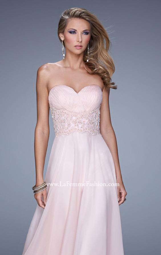 Picture of: Strapless Chiffon Dress with Sweetheart Neck and Ruching, Style: 20815, Detail Picture 5
