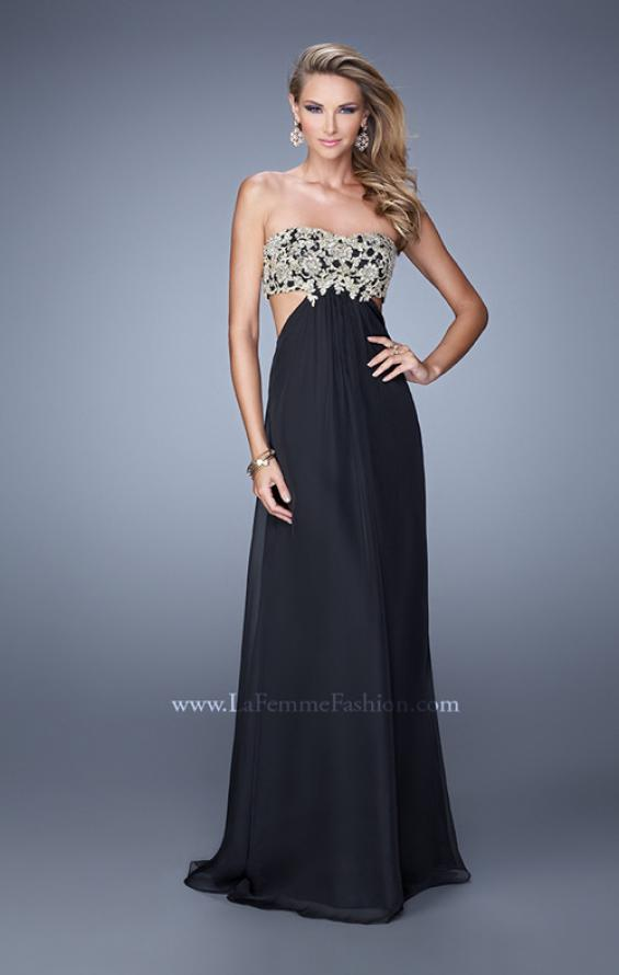 Picture of: Strapless Chiffon Gown with Metallic Lace Top and Slits in Black, Style: 20819, Main Picture