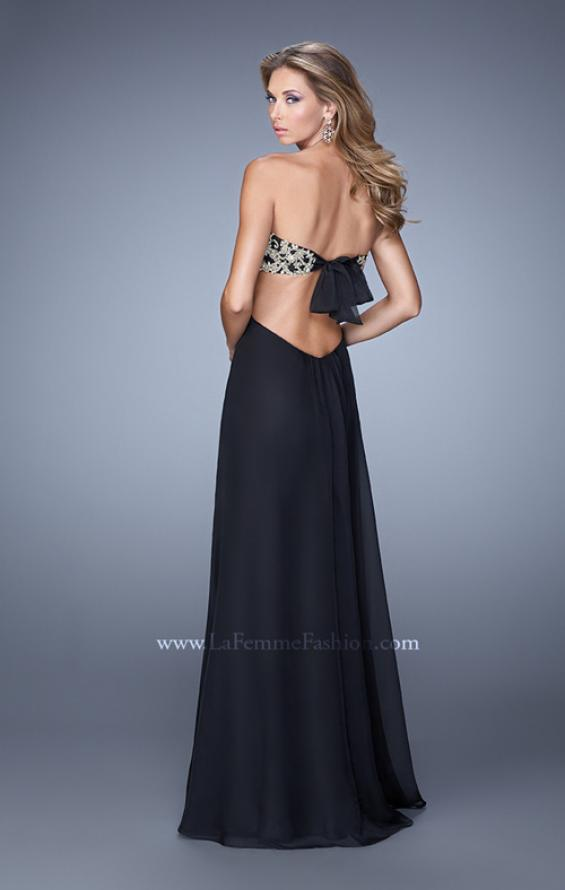 Picture of: Strapless Chiffon Gown with Metallic Lace Top and Slits in Black, Style: 20819, Back Picture