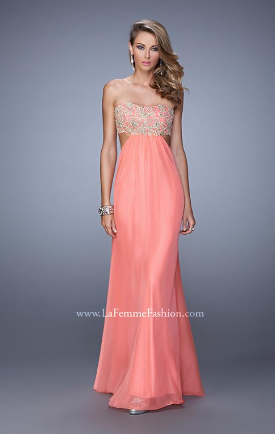Picture of: Strapless Chiffon Gown with Metallic Lace Top and Slits in Coral, Style: 20819, Detail Picture 1