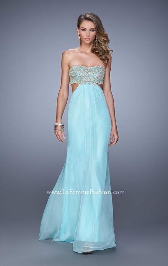 Picture of: Strapless Chiffon Gown with Metallic Lace Top and Slits in Aqua, Style: 20819, Detail Picture 2