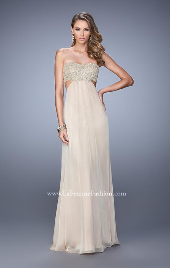 Picture of: Strapless Chiffon Gown with Metallic Lace Top and Slits in Nude, Style: 20819, Detail Picture 3