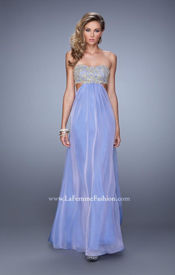 Picture of: Strapless Chiffon Gown with Metallic Lace Top and Slits in Purple, Style: 20819, Detail Picture 4