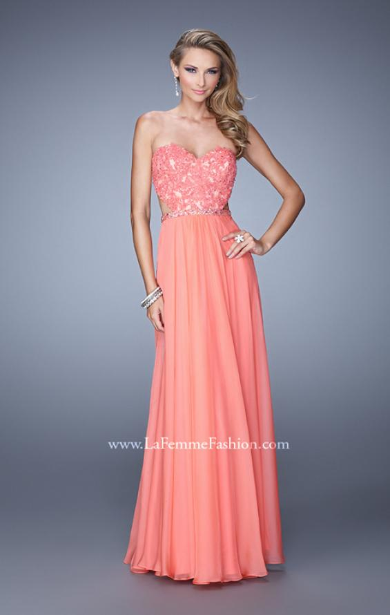 Picture of: Long Sweetheart Neck Gown with Lace Appliques and Belt in Coral, Style: 20822, Main Picture